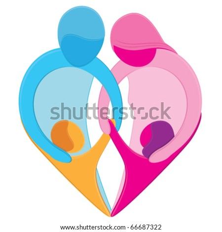 Family Love Heart Sign. Stylized figures of mother, father, son and ...