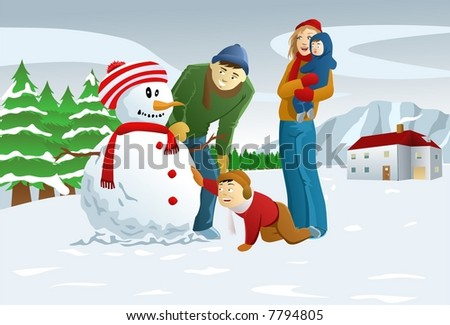 Family Making Snowman - Vector