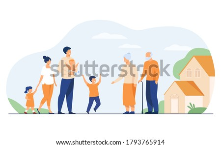 Family meeting in grandparents country house. Excited children and parents visiting grandmother and grandfather, boy running to granny. Vector illustration for happy family, love, parenting concept