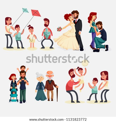 Family members spending time together at home. Mother, father and children  cartoon characters isolated on white background. Flat vector illustration.