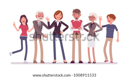 Family members together. Grandparents, parents and their children, happy friendly group of adults and kids in traditional union. Vector flat style cartoon illustration isolated on white background