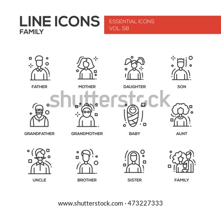 Family - modern vector plain line design icons and pictograms set.