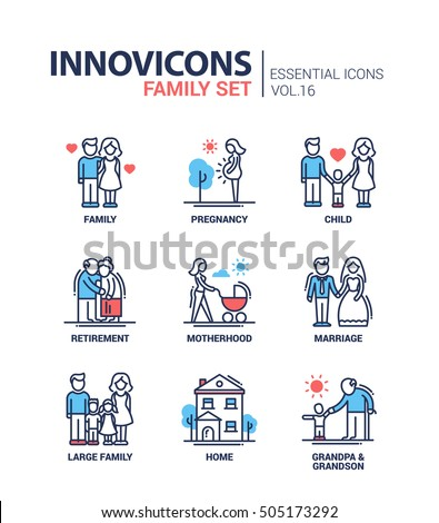 Family - modern vector thin line flat design icons and pictograms set. Pregnancy, child, retirement, motherhood, marriage, home, grandpa and grandchild