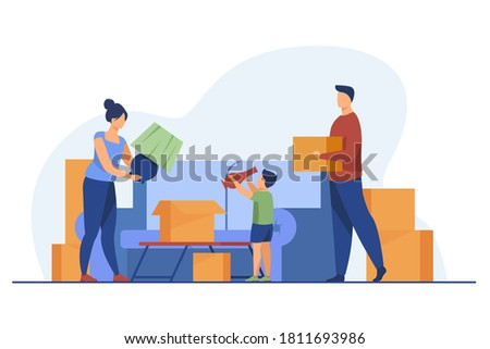 Family moving and packing things. Parents, kid, carton boxes flat vector illustration. New home, property buying, mortgage concept for banner, website design or landing web page ストックフォト ©