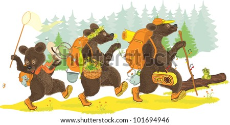 family of bears traveling on