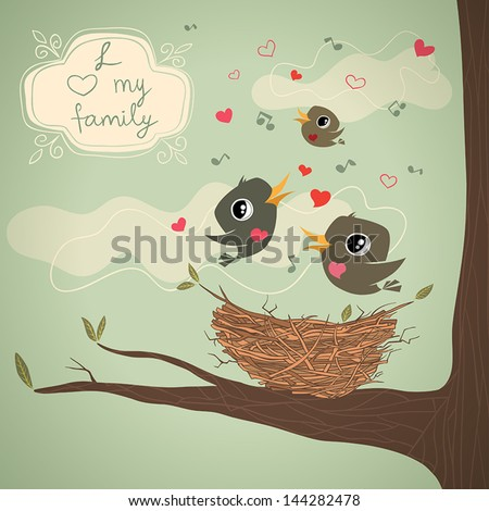 family of birds over the nest