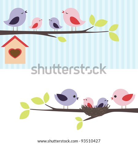 Family of birds sitting on a branch. Two variations.