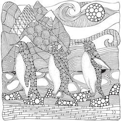 Family of Emperor Penguin on the snow in Antarctica. Coloring book page for adult and children. Doodle style. Zentangle. Zen art. Black and white animals. Winter.