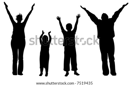 family of four with hands up vector