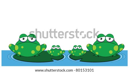 family of frogs sat on lily pads