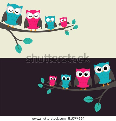 family of owls sitting on a