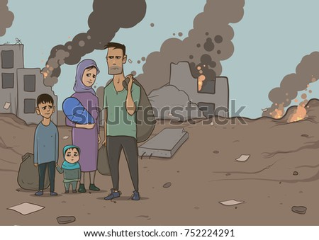 family of refugees with two