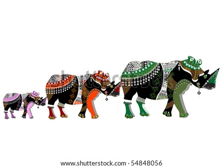 family of rhinos in ethnic style with a white background