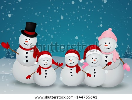 family of snowman christmas