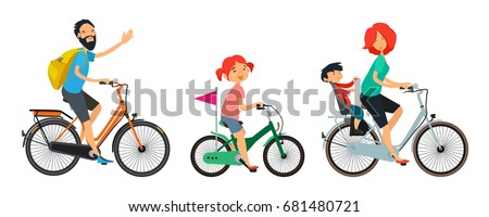 family on bicycles walk male