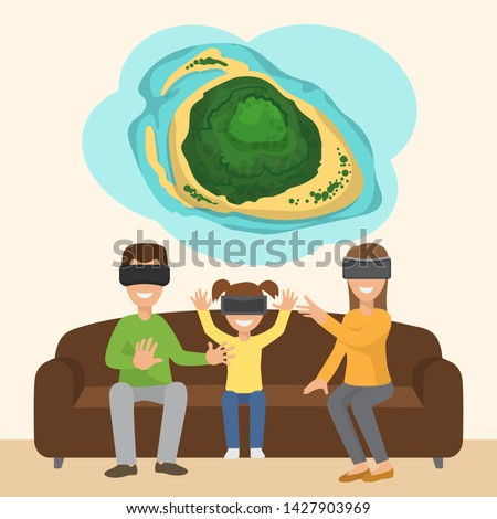 Family on sofa with googles playing virtual 3d reality tropical island simulation game. Digital entertainment vector concept. Innovation play device, vector illustration.