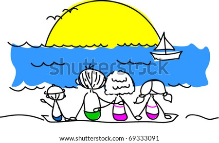 family on the beach watching the sun vector
