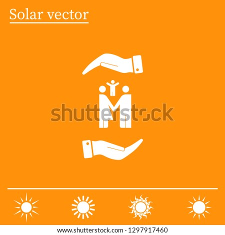 Family on the palm, protection, protection, insurance. Vector icon.