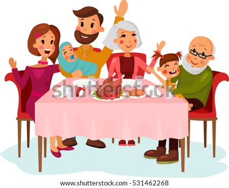 Family on traditional holiday dinner with chicken or turkey. Father and mother, grandmother and grandfather with daughter girl, newborn baby. Festive celebration, holiday theme