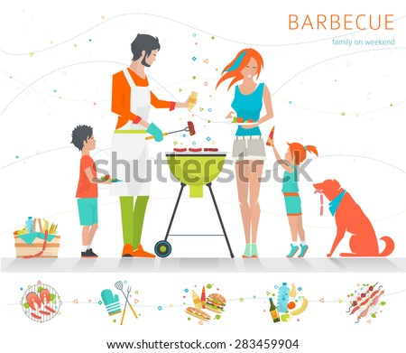 Family on weekend. Barbecue party. Summer outdoor activity. Vector flat illustration.