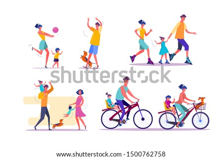 Family outdoor activities set. Parents and children cycling, playing ball, roller skating. People concept. Vector illustration for topics like leisure, movement, active lifestyle