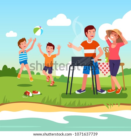 Family outdoors picnic on river shoreline countryside grass meadow enjoying summer nature. Family couple barbecuing together roasting on bbg grill, kids sons playing ball. Flat vector illustration