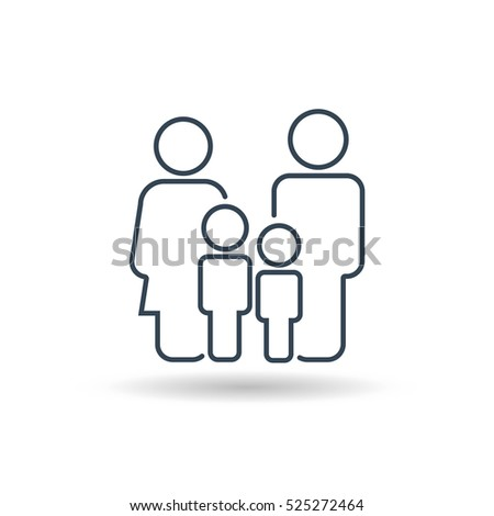Family Outline Icon Vector . Flat Sign for using in the App, UI, Art, Logo, Web.