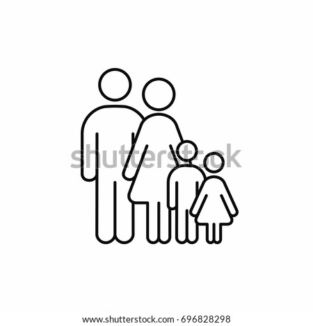 Family outline icon. Vector isolated family silhouette line illustration.