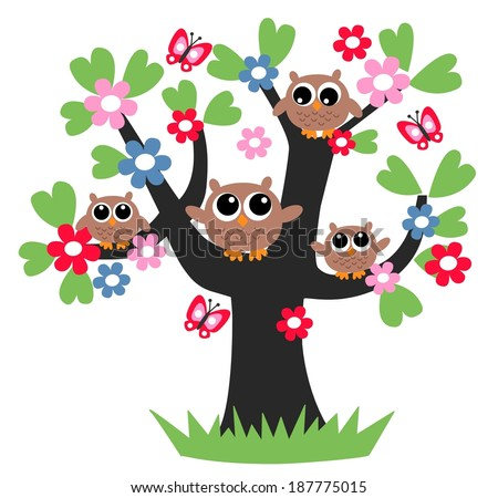 family owl tree flower together