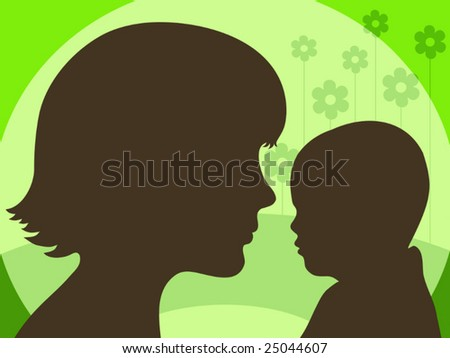 Family peoples half-faces on the abstract green nature background. Vector illustration.