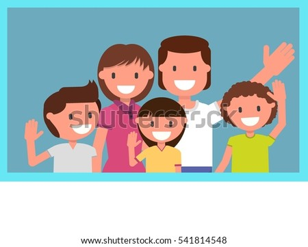 family photo. Mom, Dad, kids, son, daughter. Boy, girl, man, woman. vector illustration. flat design style