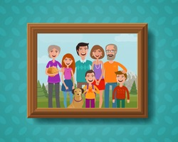 Family photo on wall in wooden frame. Cartoon vector illustration
