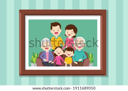Family photo on wall in wooden frame.Collection of photos of family members in frames. framed wall pictures or photographs with smiling people.Grandmother and grandfather in photo frame with parent