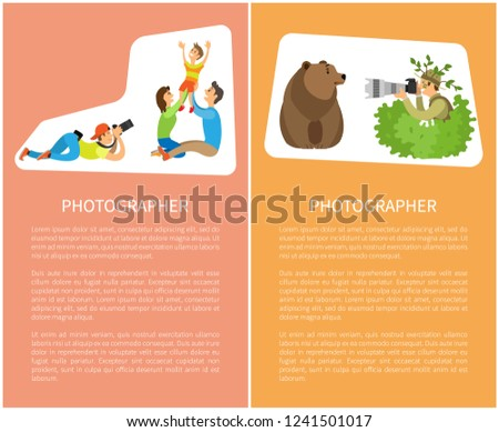 Family photo session, kid and parents. Photographer holding camera making picture of mother with father raising child. Man hiding in bushes shots bear