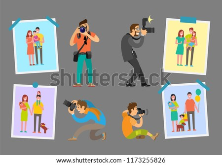 Family photographers with digital cameras taking photos. Man making pictures of parents and children. Samples of studio works hanging on wall vector