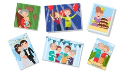 Family Photography Archive Vector Illustrations Set. Happy Photos With Family Members