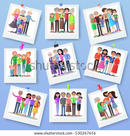 Family photography set. Happy photos of family members with different clips. Close relationships concept. Best memories on picture. Parenthood concept. Several generations. Vector illustration