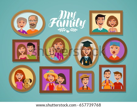 Family photos in frames. People, parents and children concept. Cartoon vector illustration