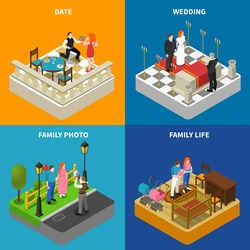 Family photos 4 isometric icons square composition poster with wedding ceremony and engagement abstract isolated vector illustration