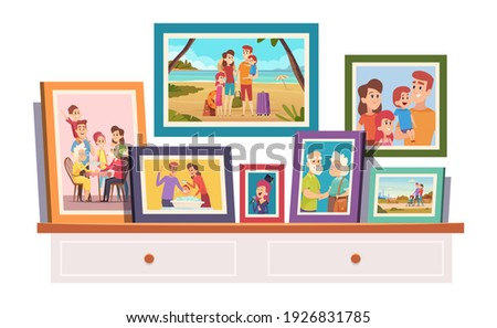 Family photos. Memories photo with smiling people father mother kids grandparents on photo with frame standing on table in room exact vector illustrations