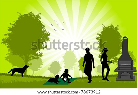 Family picnic in the garden - illustration