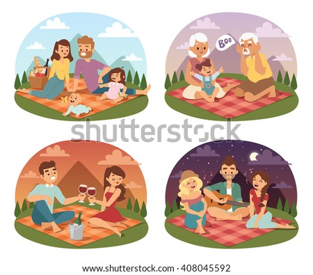 family picnicking summer happy