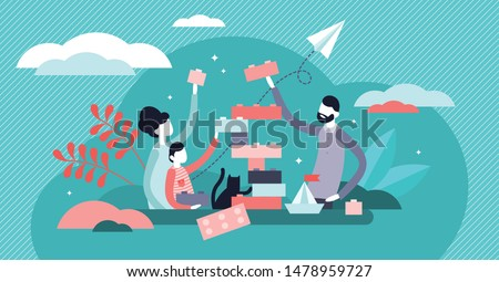 Family play vector illustration. Tiny togetherness activity persons concept. Fun, warm and happy parent or childhood lifestyle. Playful and positive entertainment game to bond group relationship.