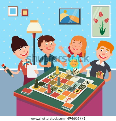 Family Playing Board Game. Happy Weekend. Vector illustration