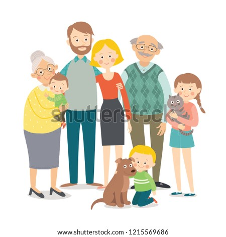 Family portrait. Big happy multi-generational family together. Cartoon vector hand drawn eps 10 illustration isolated on white background in a flat style