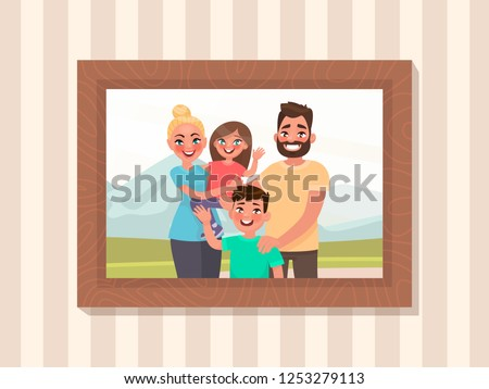 family portrait in a frame on