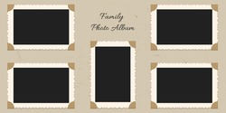 Family portrait pictures in frames on albom. Vector page of photo album, with photo frames and corner.