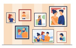 Family portrait pictures in frames on wall. Happy parents and kids framed photos in home interior. Vector illustration for home decoration, photography, generation concept