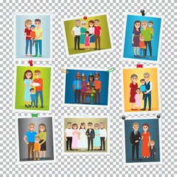 Family portrait set. Happy photos of family members. Close relationships concept. Best memories on pictures. Parenthood concept. Marriage, birthday, holiday. Several generations. Vector illustration