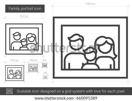 Family portrait vector line icon isolated on white background. Family portrait line icon for infographic, website or app. Scalable icon designed on a grid system.